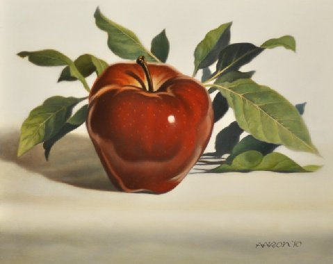 Red Apple and Leaves