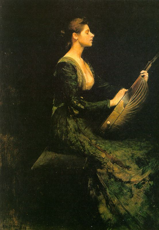 Lady with a Lute painting
